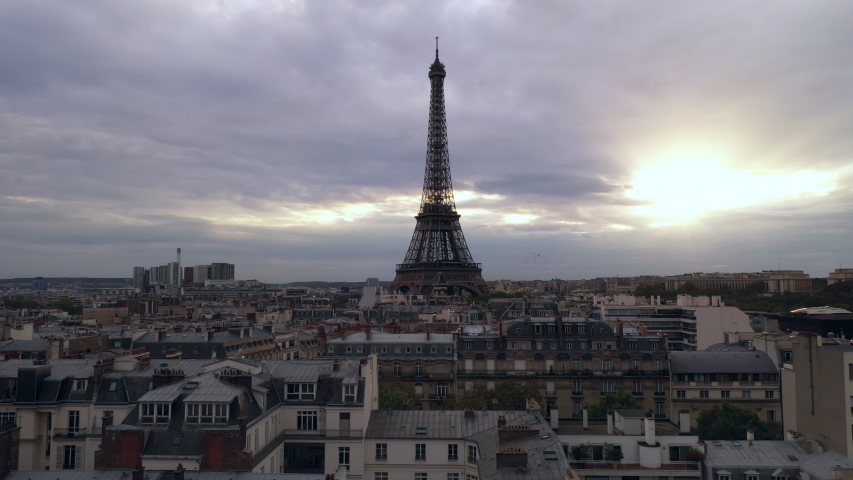 Aerial cityscape of Paris France and Eiffel Tower during sunset  | Shutterstock HD Video #1040906483