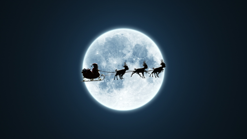 Santa Claus on a Reindeer Sleigh Flying on the Background of the Moon, Beautiful 3d Animation, Chroma Key Version Included. 4k | Shutterstock HD Video #1040935733