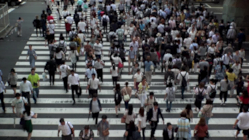 UMEDA, OSAKA, JAPAN - CIRCA SEPTEMBER 2019 : Aerial blurred high angle view of zebra crossing near Osaka train station. Crowd of people at the street. Shot in busy rush hour. Wide slow motion. | Shutterstock HD Video #1041098713