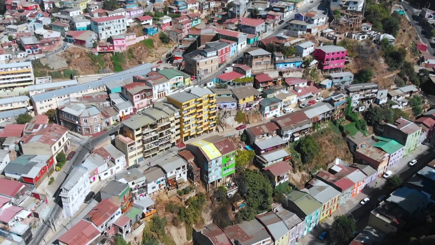 City on the hills, Colorful Houses, cottages (Valparaiso, Chile) aerial view | Shutterstock HD Video #1041121303