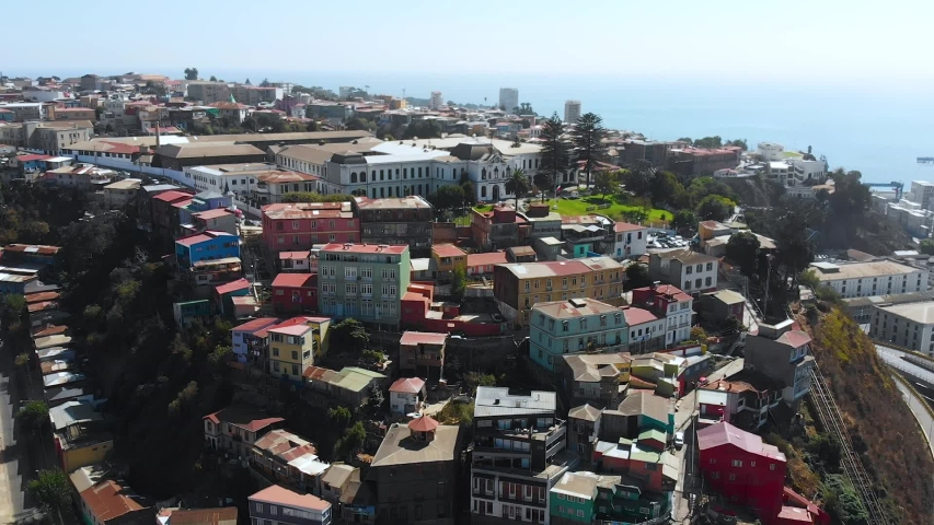 Street May 21 Avenue, Houses on the hill cottages (Valparaiso Chile) aerial view | Shutterstock HD Video #1041121693