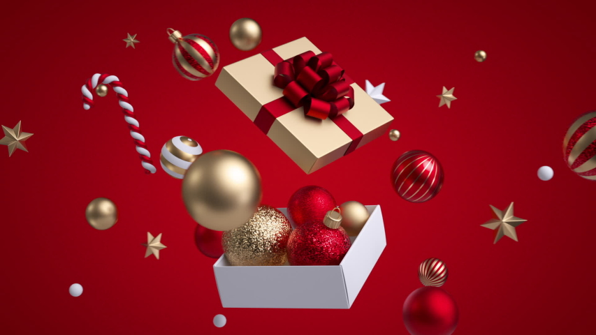 Abstract Christmas red background, golden and white ornaments stars and balls flying around open square gift box. 3d objects. Minimal cycled animation   Shutterstock HD Video #1041171763