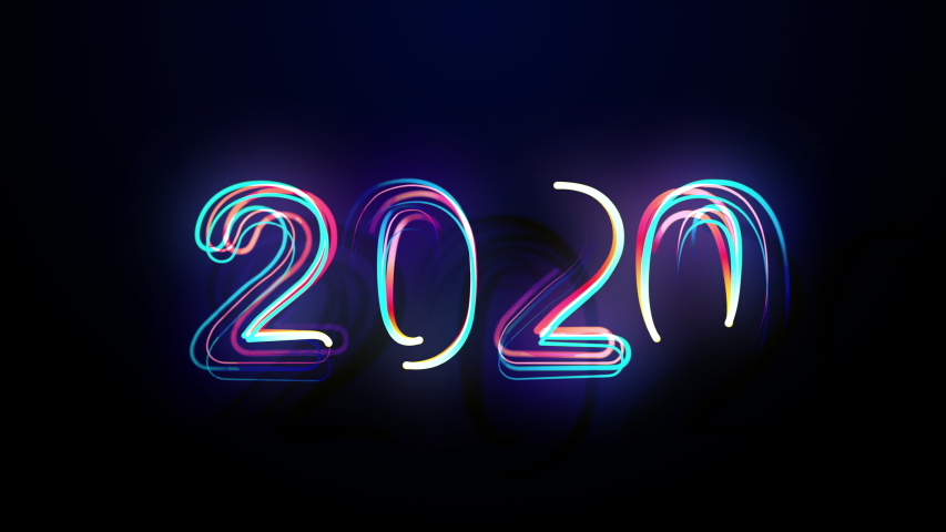 Conception 2020 Bright Multicolored Animation Numerals of the New Year Flicker and Glowing. Colored Neon Light Form Generated Circle and Wave Digits. Isolated Colorful Symbols Shape Date Sign Rays 4K   Shutterstock HD Video #1041184393
