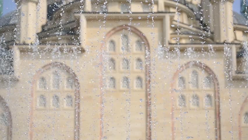 Chechnya Grozny Mosque Heart of Chechnya windows fountain static camera medium shot