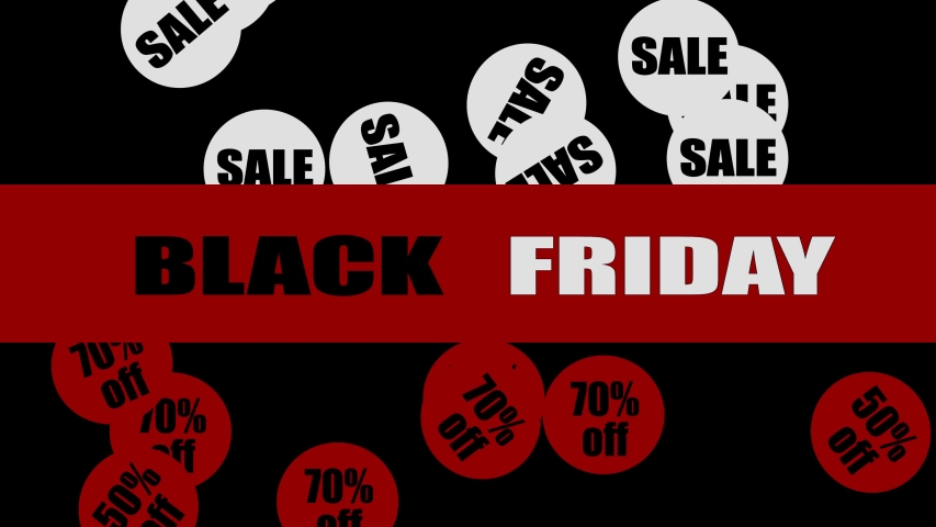 Black Friday on red background and falling tags sale and 30 50 70 percent off | Shutterstock HD Video #1041311473