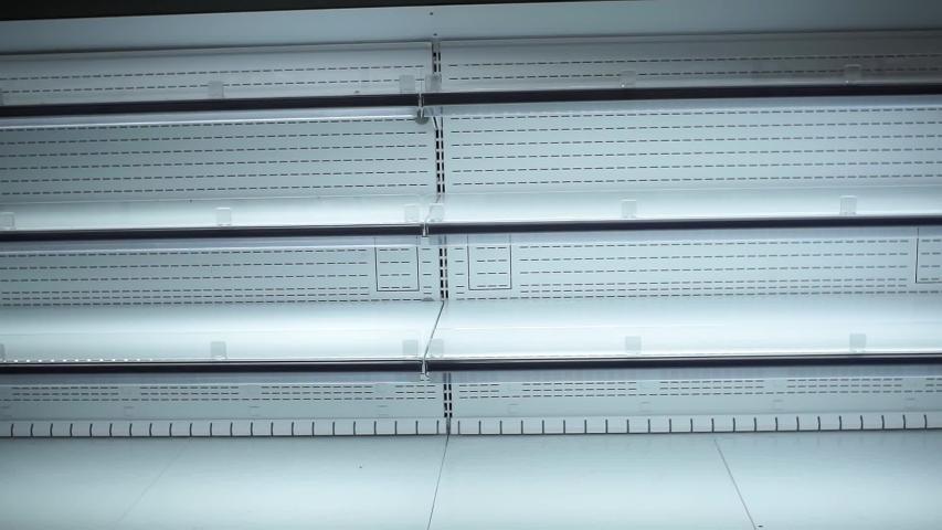 Empty shelves, sale of goods in the hypermarket, no shortage of goods   Shutterstock HD Video #1041381973