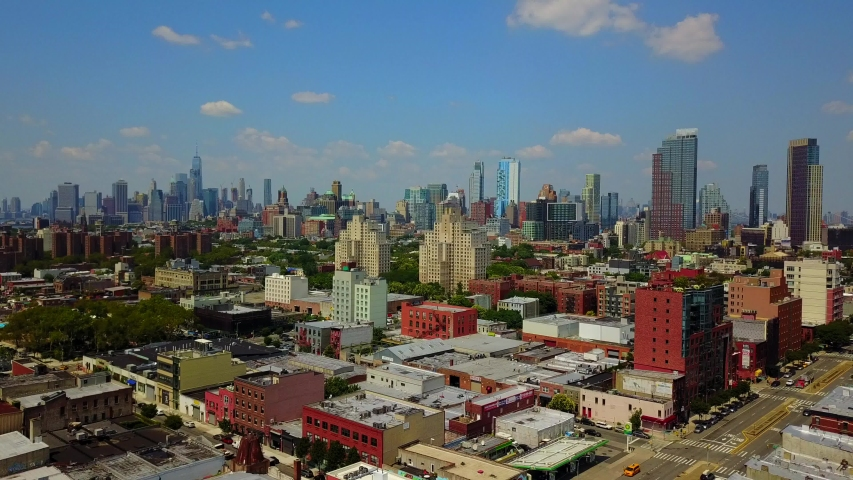 This video shows an aerial shot of Downtown Brooklyn skyline during the summer season.  | Shutterstock HD Video #1041416653