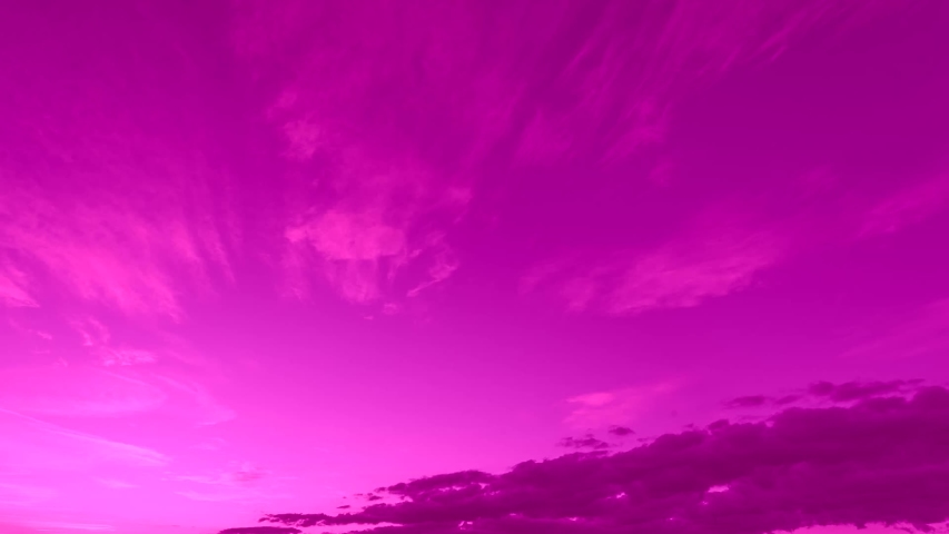 Formating pink clouds in clean colourful relaxing sky, panoramic view building soft mass moving away. After rain time in autumn. | Shutterstock HD Video #1041498253