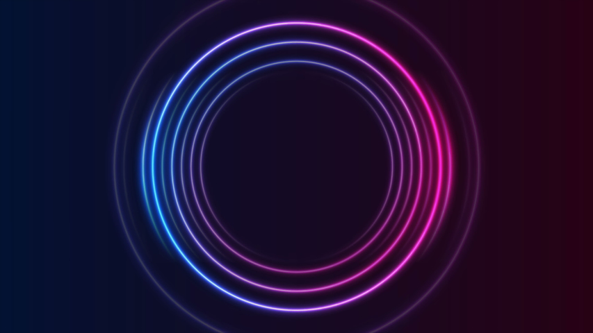 Blue and purple neon circles abstract futuristic hi-tech motion background. Video animation Ultra HD 4K 3840x2160 | Shutterstock HD Video #1041826423
