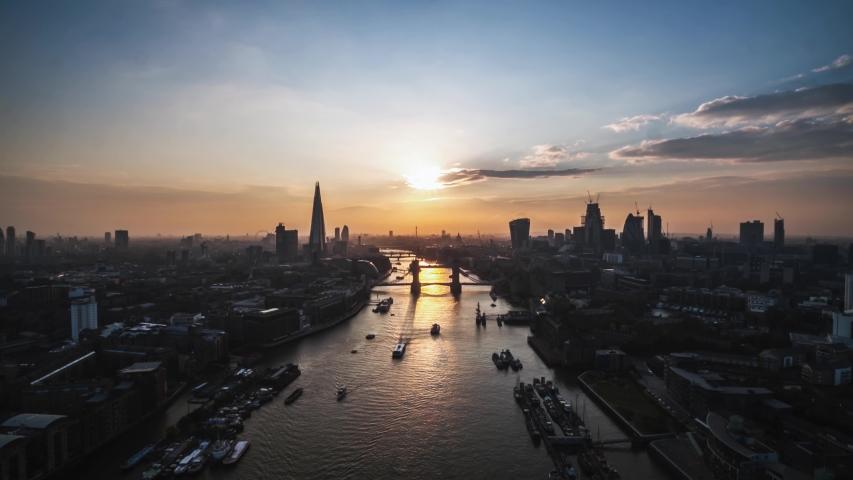 Aerial Hyperlapse Timelapse of London, Tower Bridge, United Kingdom | Shutterstock HD Video #1041851893