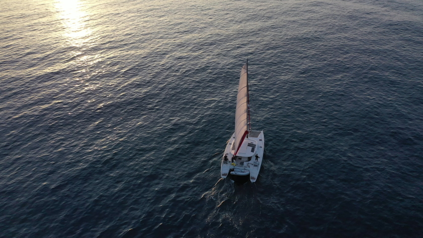 Boat in aerial video navigation | Shutterstock HD Video #1041873553