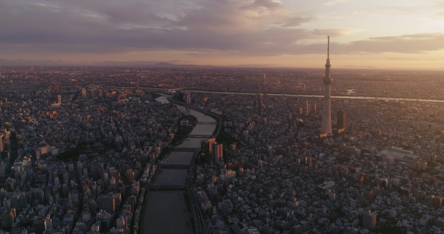 Beautiful dawnshot of Skytree and Senso-ji Temple with Sumida river in Tokyo, Japan | Shutterstock HD Video #1041916903