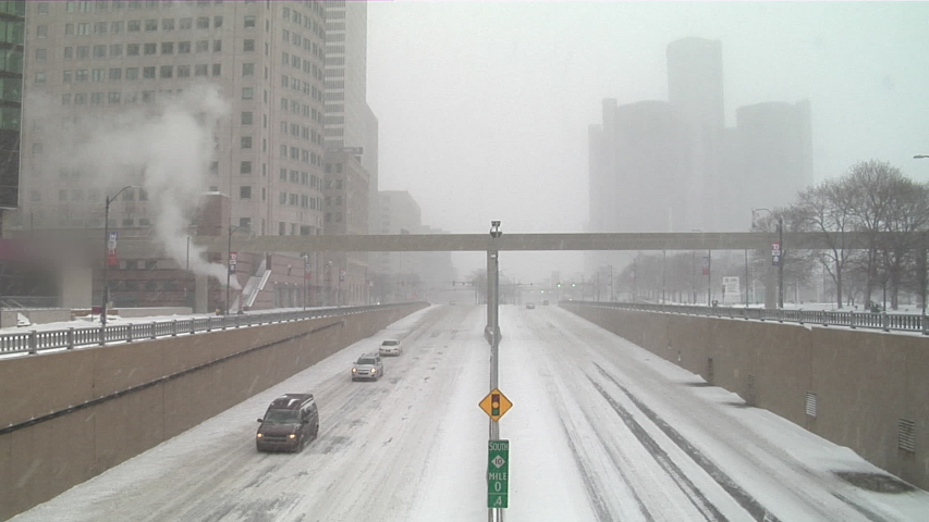 Snow falls on downtown Detroit, Michigan | Shutterstock HD Video #1042095973