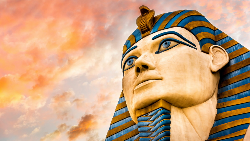 LAS VEGAS, NEVADA - NOV 11th: Looping timelapse of the Head of the Sphinx at the Luxor Casino during sunset in Las Vegas, Nevada on November 11th, 2019