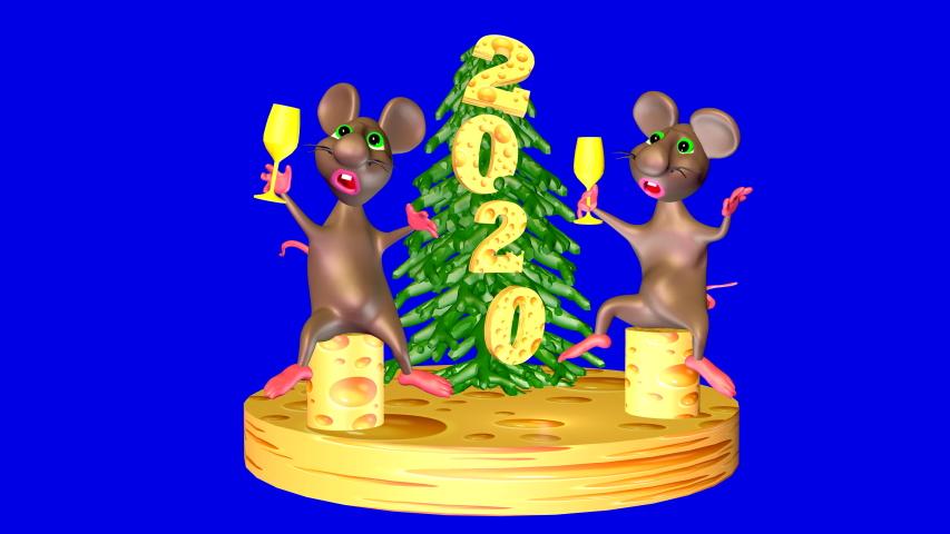 Mice celebrate their new year 2020. Funny. Dances. cartoon, cartoon film, animated film. 3D video. Chroma key. 3D rendering. | Shutterstock HD Video #1042145113