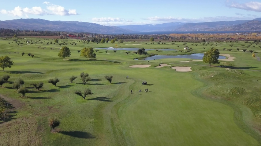 Aerial view of golfers on a vibrant green course