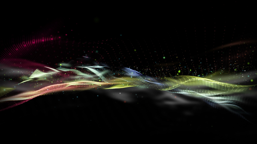 Futuristic video animation with wave object and glitter particles in slow motion, 4096x2304 loop 4K | Shutterstock HD Video #1042217803