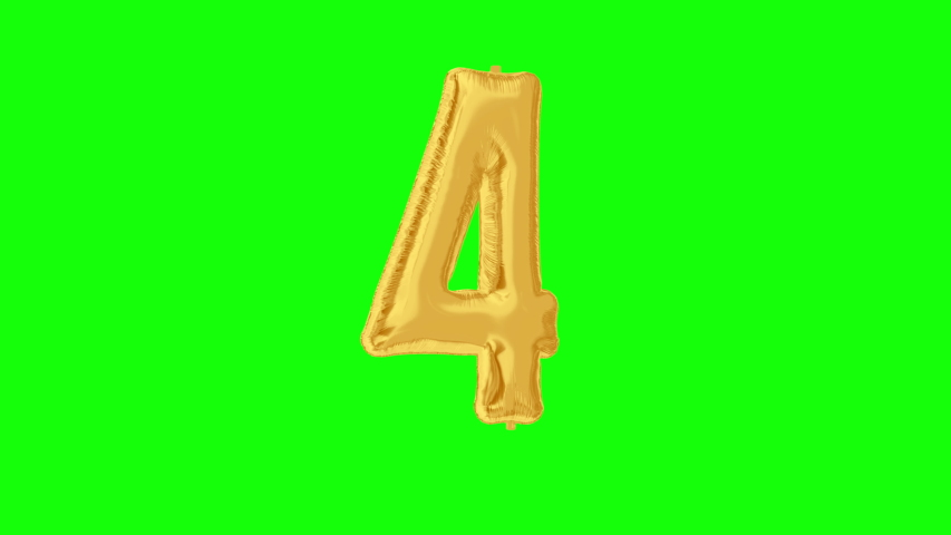 Gold foil number 4 four on green screen for anniversary celebration, festival, decorations and happy birthday. 4K video. | Shutterstock HD Video #1042254733