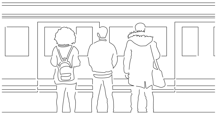 People on the subway isolated line drawing, vector illustration design. | Shutterstock HD Video #1042289203