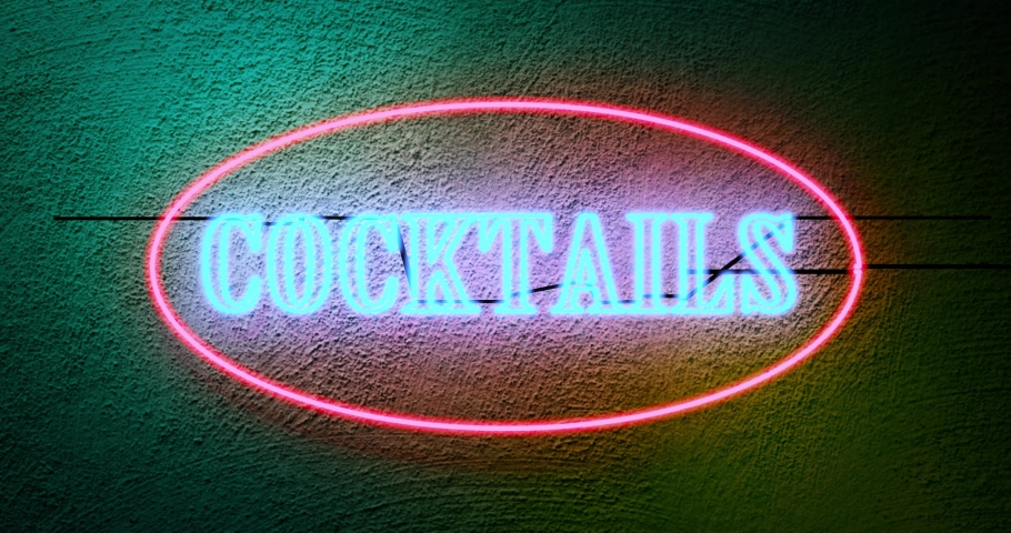 Neon cocktails sign outside tropical bar shows nightclub entrance. Advertisement signage for nightlife in club - 4k   Shutterstock HD Video #1042324243