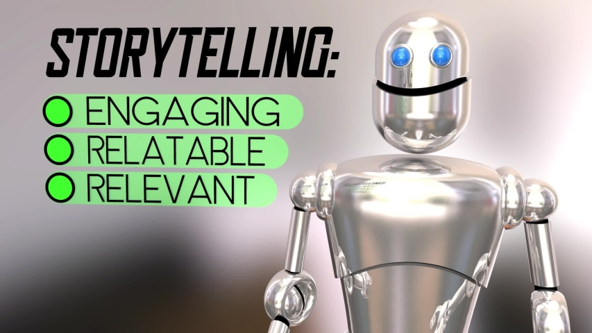 Storytelling Checklist Relevant Relatable Engaging Robot 3d Animation | Shutterstock HD Video #1042485103