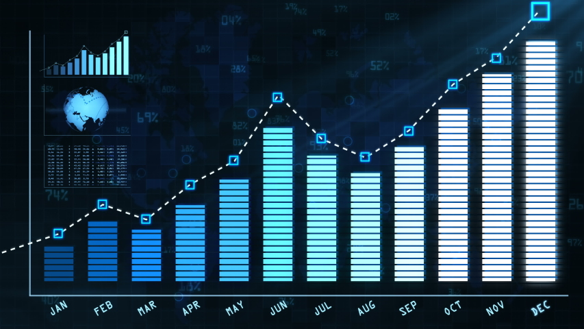 Annual report to shareholders with blue color growth chart. The report shows the growth of business or shares throughout the year. A visual graph for use the presentation with the boss. | Shutterstock HD Video #1042537003