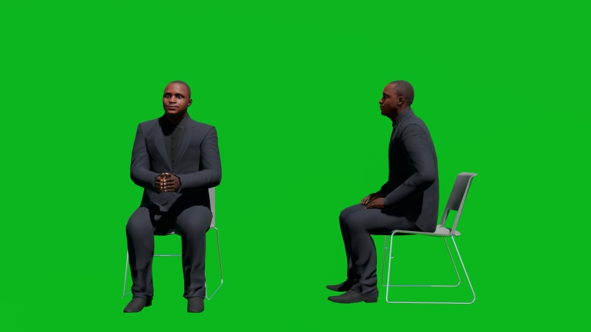 Business african man sitting on chair in front view and side view, realistic 3D people rendering isolated on green screen. | Shutterstock HD Video #1042602853