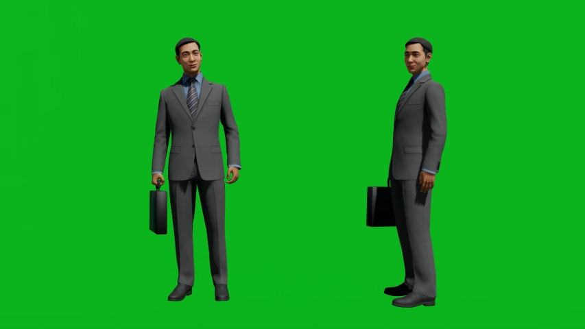 Asian business man standing in front view and side view, realistic 3D people rendering isolated on green screen. | Shutterstock HD Video #1042740553