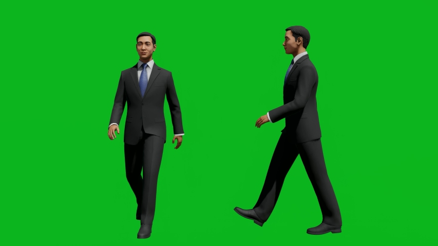 Asian business man walking in front view and side view, realistic 3D people rendering isolated on green screen. | Shutterstock HD Video #1042740583