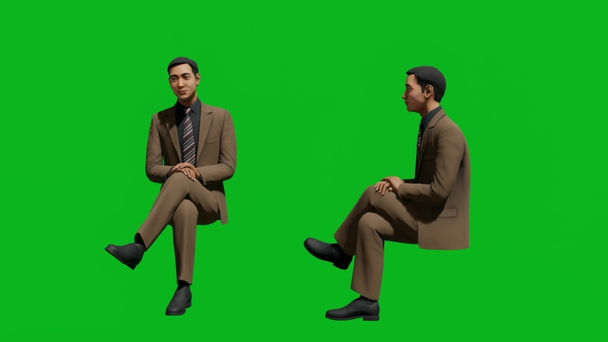 Asian business man sitting pose in front view and side view, realistic 3D people rendering isolated on green screen. | Shutterstock HD Video #1042740613