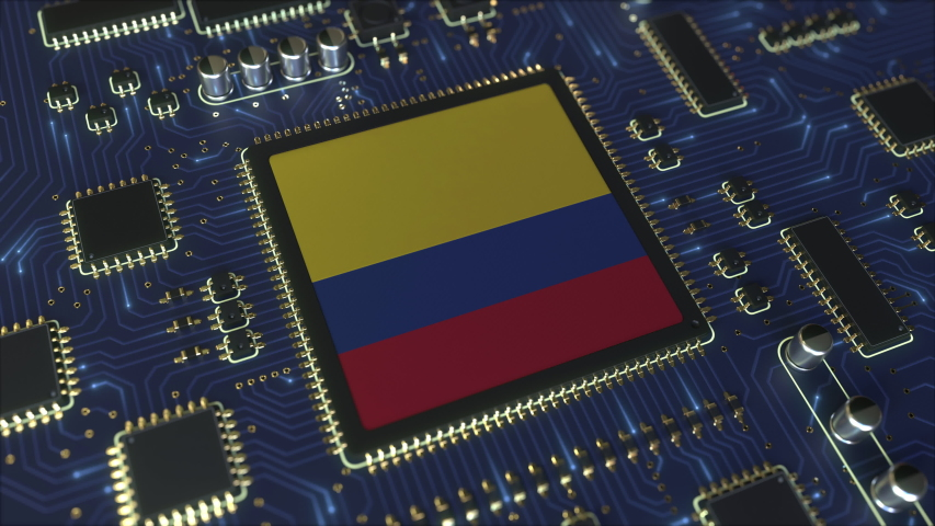 National flag of Colombia on the operating chipset. Colombian information technology or hardware development related conceptual 3D animation | Shutterstock HD Video #1042782403
