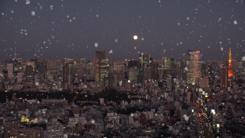 TOKYO, JAPAN - DECEMBER 2019 : Aerial view of cityscape of TOKYO snowing at night. Scenery of central downtown area. Soft snow falling and full moon in the sky. Winter and Christmas season concept.