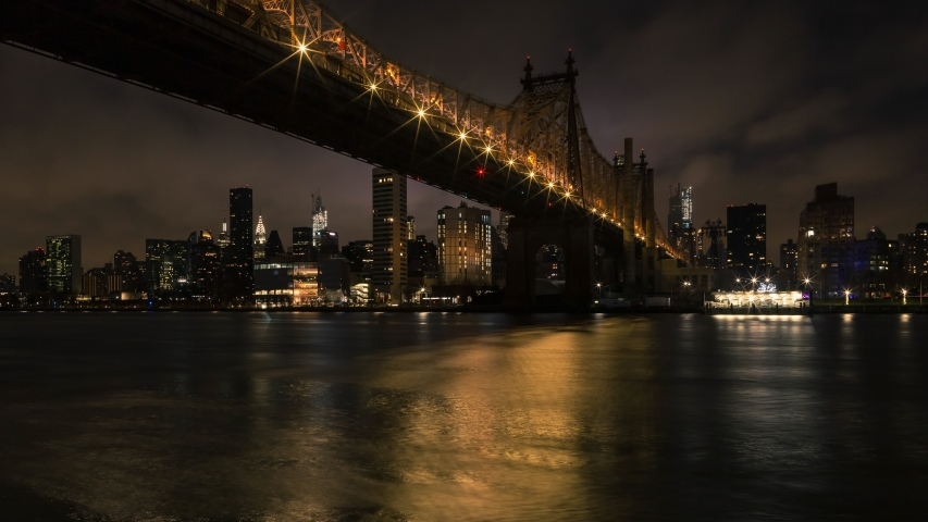 Night to day time-lapse Queensboro bridge and Midtown Manhattan From East river | Shutterstock HD Video #1043601523