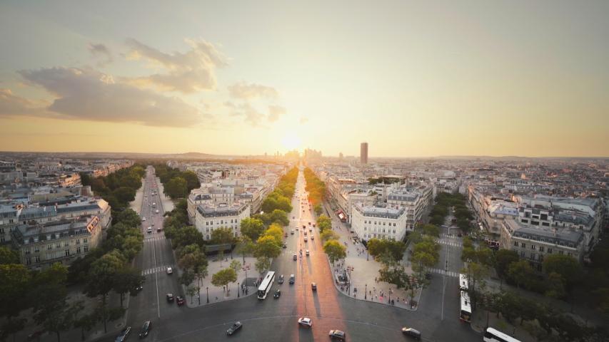 Paris view from Arc de Trimphe, France | Shutterstock HD Video #1044513193