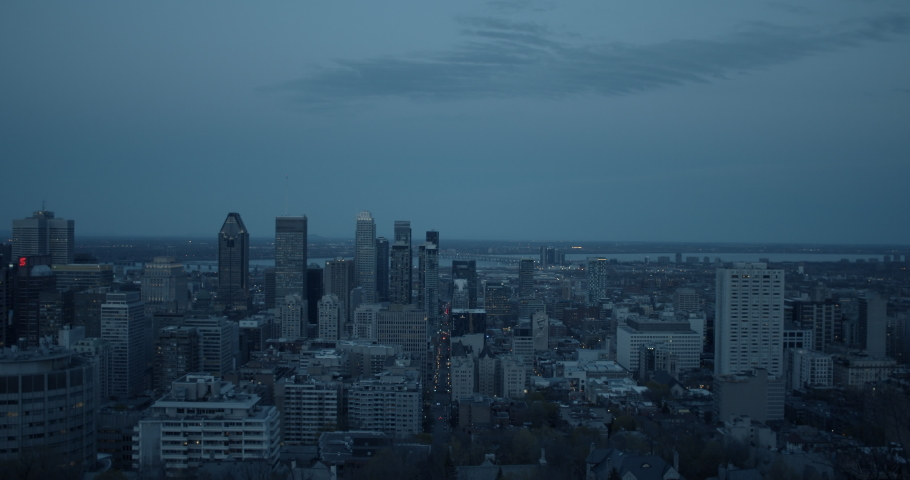 View from Mount Royal in Montreal Quebec Canada of the downtown core at dusk | Shutterstock HD Video #1044537223