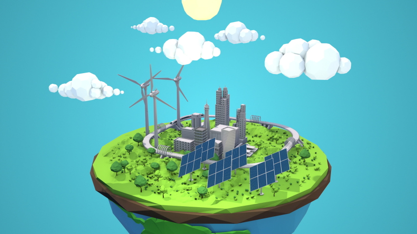 Save the planet. Day to night seamless loop  cycle animation of a clean green energy futuristic city using wind turbines and solar panels. Global warming resources for a bright future.  | Shutterstock HD Video #1044594103