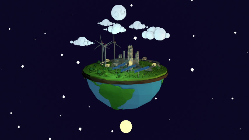 Day to Night cycle low poly cartoon animation of a futuristic eco-friendly green energy city sitting on top of a half globe.    Shutterstock HD Video #1044616603