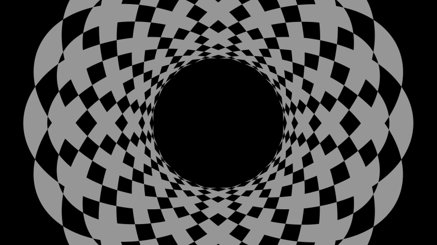 Graphic object in the shape of a crown, in black and white with stroboscopic and hypnotic effect, which rotates clockwise, decreasing the size from the full screen to the disappearance in the center. | Shutterstock HD Video #1044654163