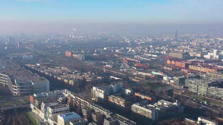 Aerial view Paris Saint Denis polluted air greenhouse gas industry chimney smoking France capital  | Shutterstock HD Video #1044661873
