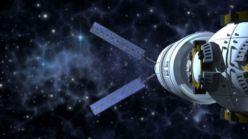 Unmanned spacecraft similar with a satellite orbiter flying on a deep space background   Shutterstock HD Video #1044853513