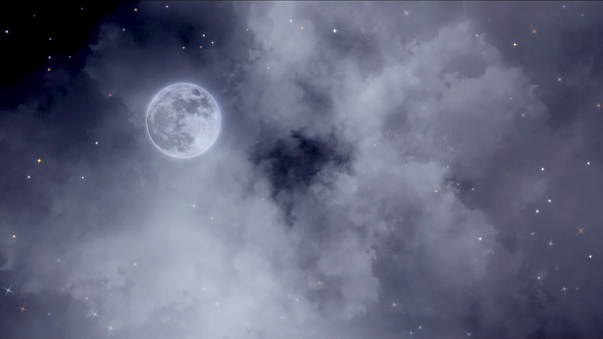 Alone moon in the outer space close to gas nebula.   Shutterstock HD Video #1044860683