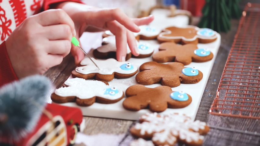 Step by step. Decorating gingerbread cookies with royal icing.   Shutterstock HD Video #1044885373