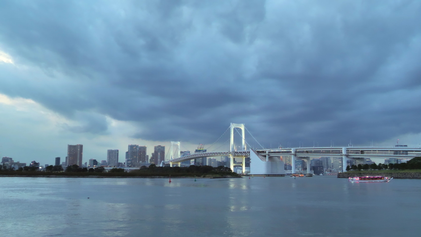 The long bridge on the city of Kawaguchiko in Japan as seen at night time | Shutterstock HD Video #1044891583