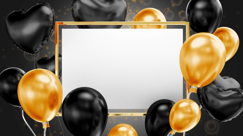 Paper table with gold and black balloons. Golden frame. Black background. 3D Render.   Shutterstock HD Video #1044967933
