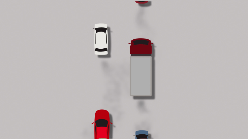 Overhead view of traffic and air pollution, traffic jams and congestion. Slowly moving cars and trucks with exhaust fumes . | Shutterstock HD Video #1044969973