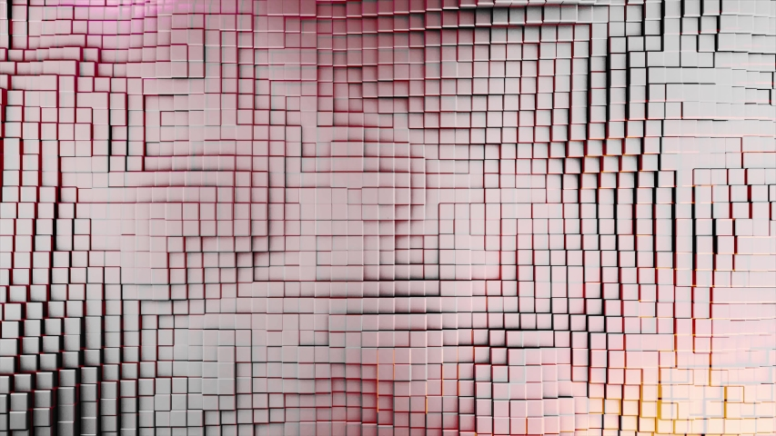 Abstract texture with many rows of small cubes swaying under the white, red, and yellow light. Animation. Moving wall of small bricks, seamless loop.   Shutterstock HD Video #1044985483