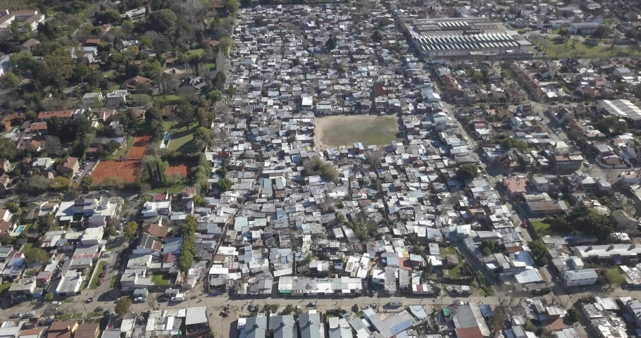 Aerial view of a poor village, Cava, San Isidro, Buenos Aires, Argentina. | Shutterstock HD Video #1045024183