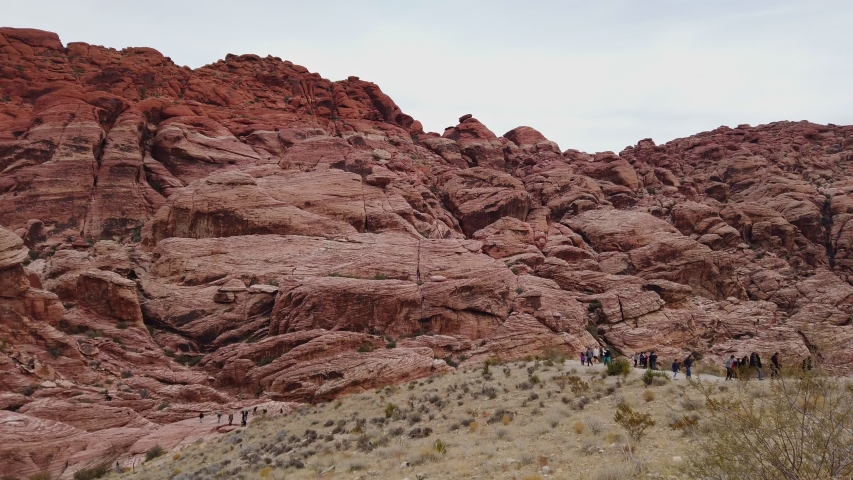 Cloudy day in the famous Red Rock Canyon at Nevada | Shutterstock HD Video #1045174753