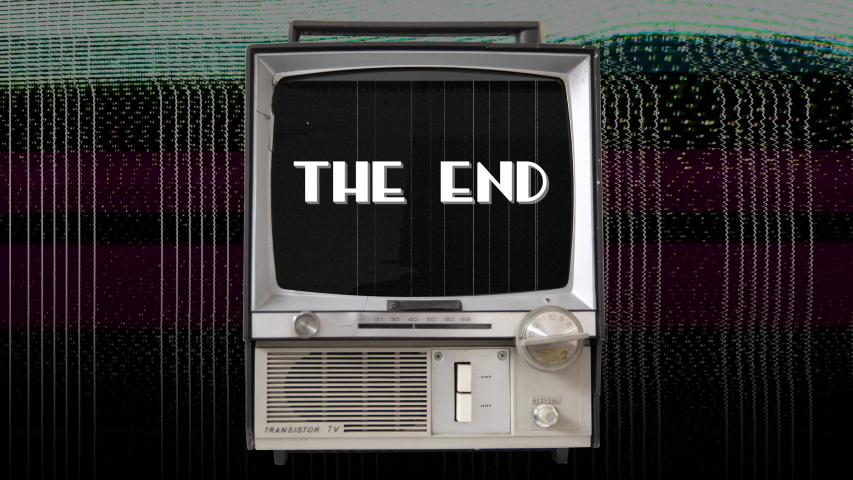 Montage of retro tv sets in various styles with glitches and the words The End against a black background | Shutterstock HD Video #1045179073