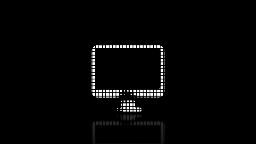 Animated icon - Monitor on a dark background is assembled from many cubes and then dissolved. Text on a reflective surface. loop animation 4k   Shutterstock HD Video #1045259413